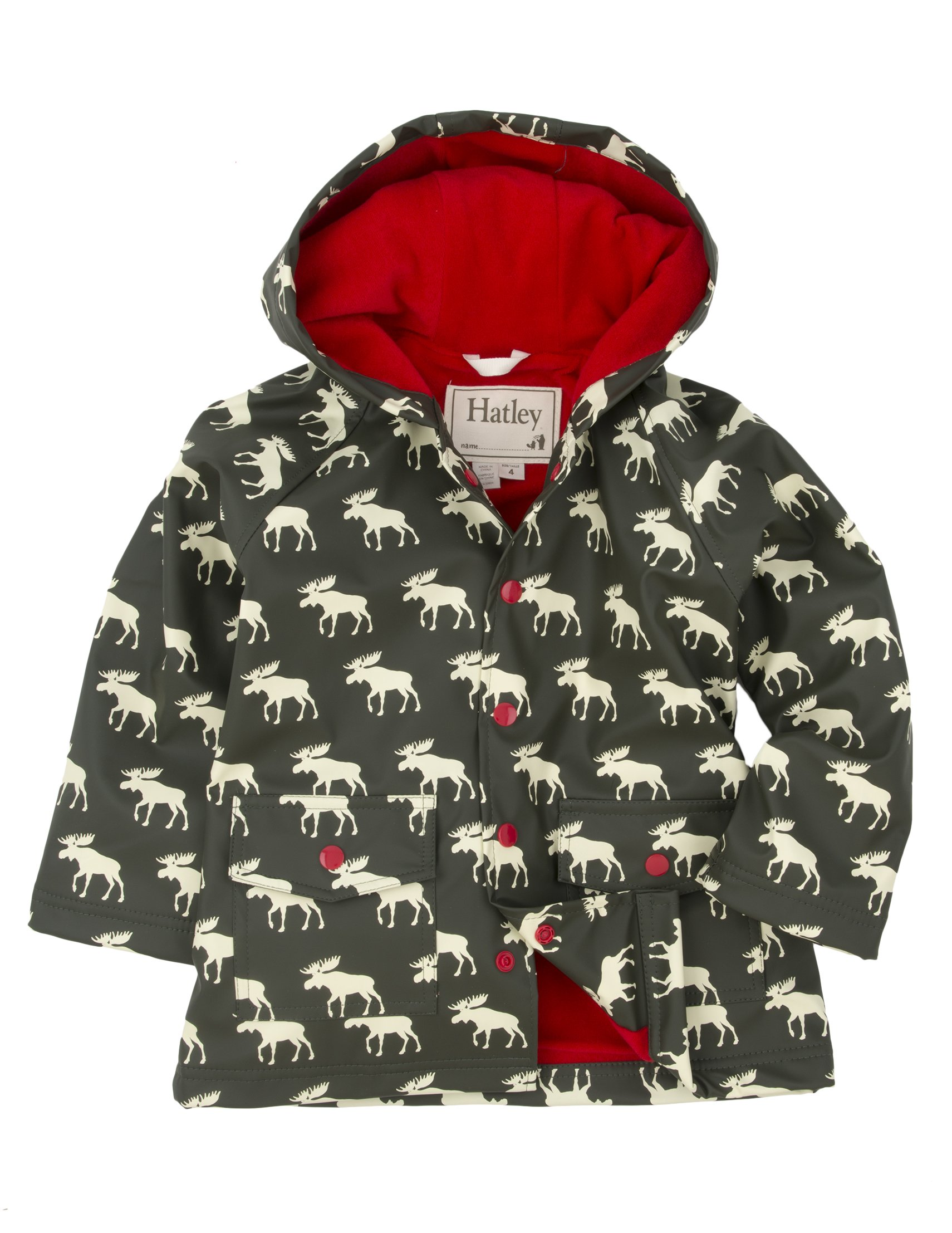 Hatley Little Boys' Rain Coat Moose, Grey Moose, 4