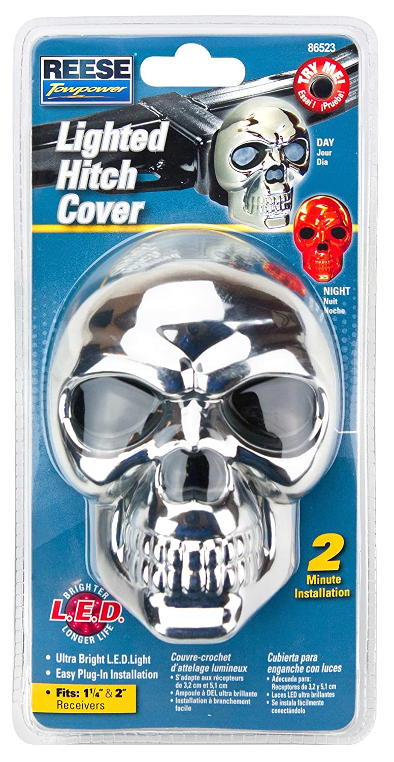 Reese Towpower 86523 Hitch Cover Skull Lighted Chrome Finish