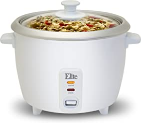 Elite Cuisine ERC-003 Electric Rice Cooker with Automatic Keep Warm Makes Soups, Stews
