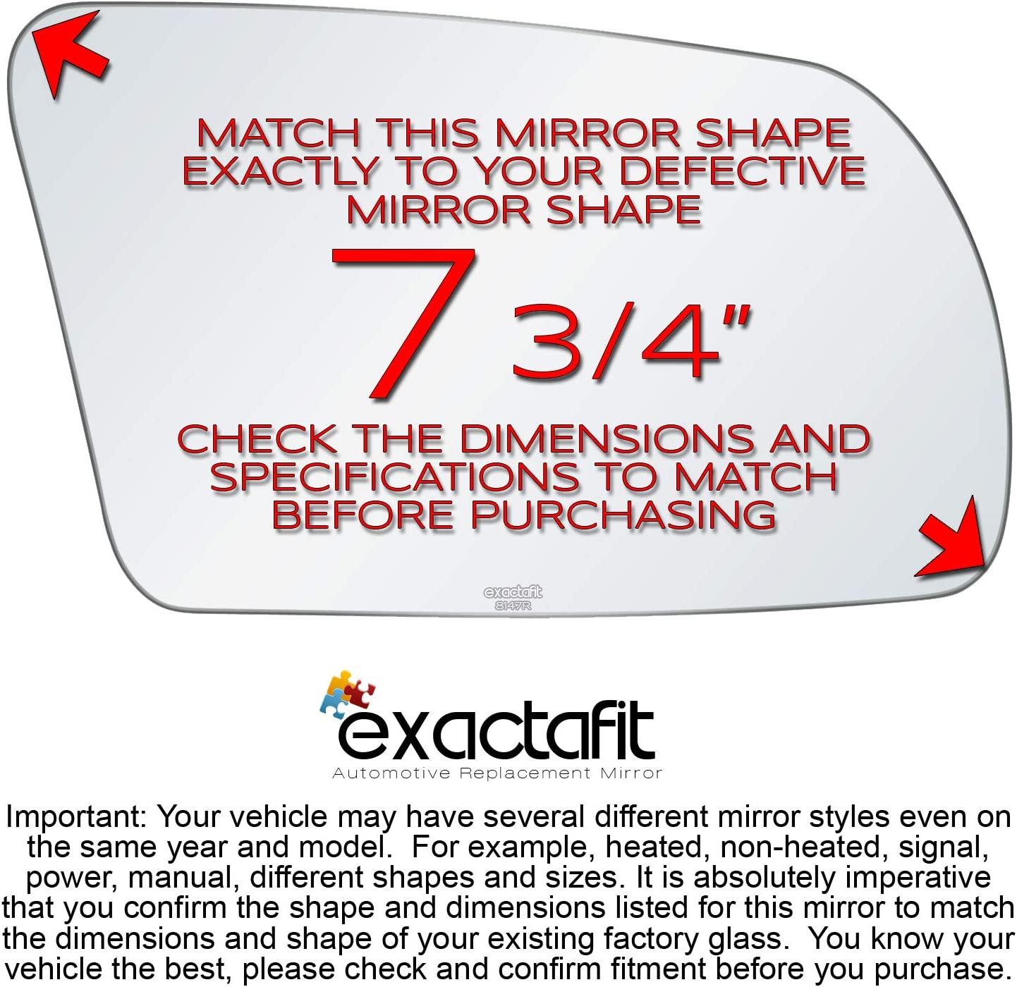 Passenger Side Rear View Mirror Glass Replacement Right Hand Fits 2007 2008 2009 2010 2011 2012 Nissan Altima By Exactafit 8147R Adhesive Install
