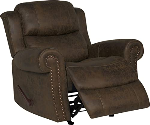 Domesis Extra Large Rocker – Faux Leather Rolled Arm Recliner Chair, Distressed Saddle Brown