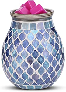 mocosa Handcrafted Mosaic Glass Electric Wax Melt Warmer Wax Burner Melter Fragrance Warmer for Home Office Bedroom Living Room Gifts & Decor, Spa and Aromatherapy.