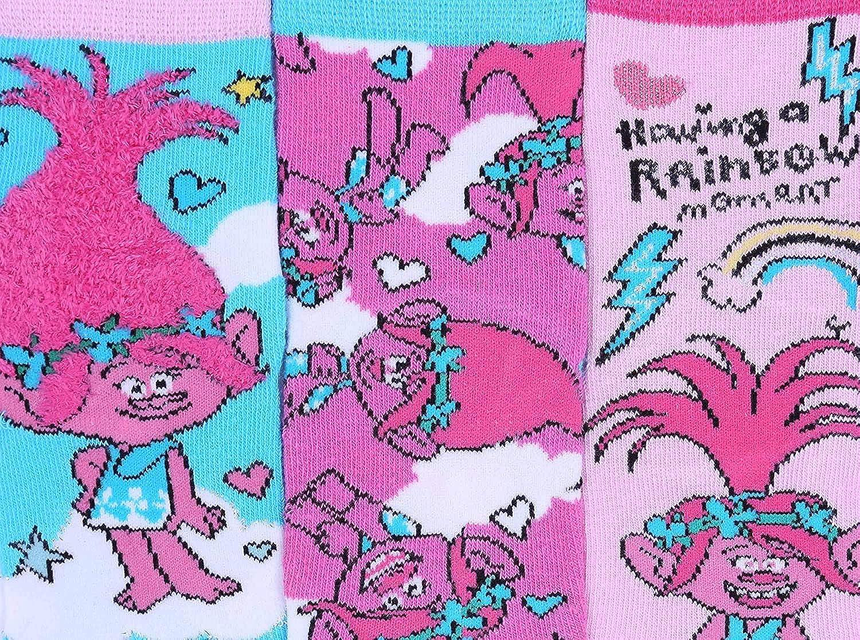 3 x Pink//Blue Ankle Socks For Girls TROLLS DREAMWORKS