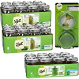 Ball Mason Jar with Lid - Wide Mouth - 24 Pcs 32 oz + 12 Pcs 16 oz + Wide Mouth Topper (Value Pack)