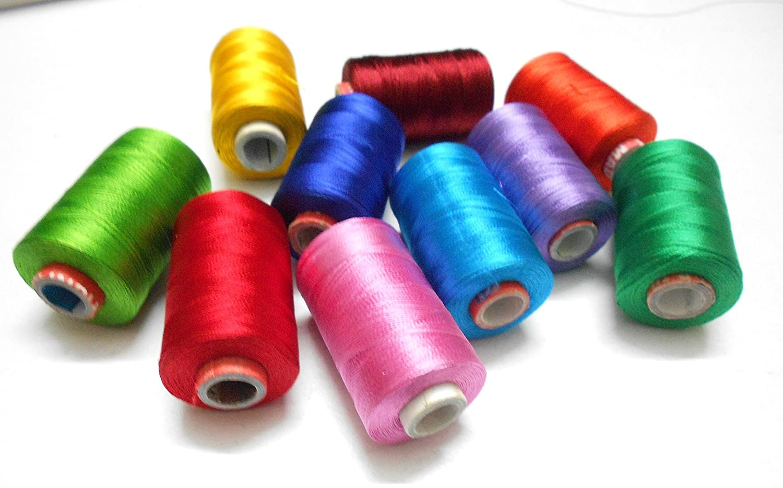 Goelx Silk Thread Shiny and Soft thread Beading thread for jewelry making-tassel making- embroidery. 10 Popular Jewelry Making -embroidery Colors Included.