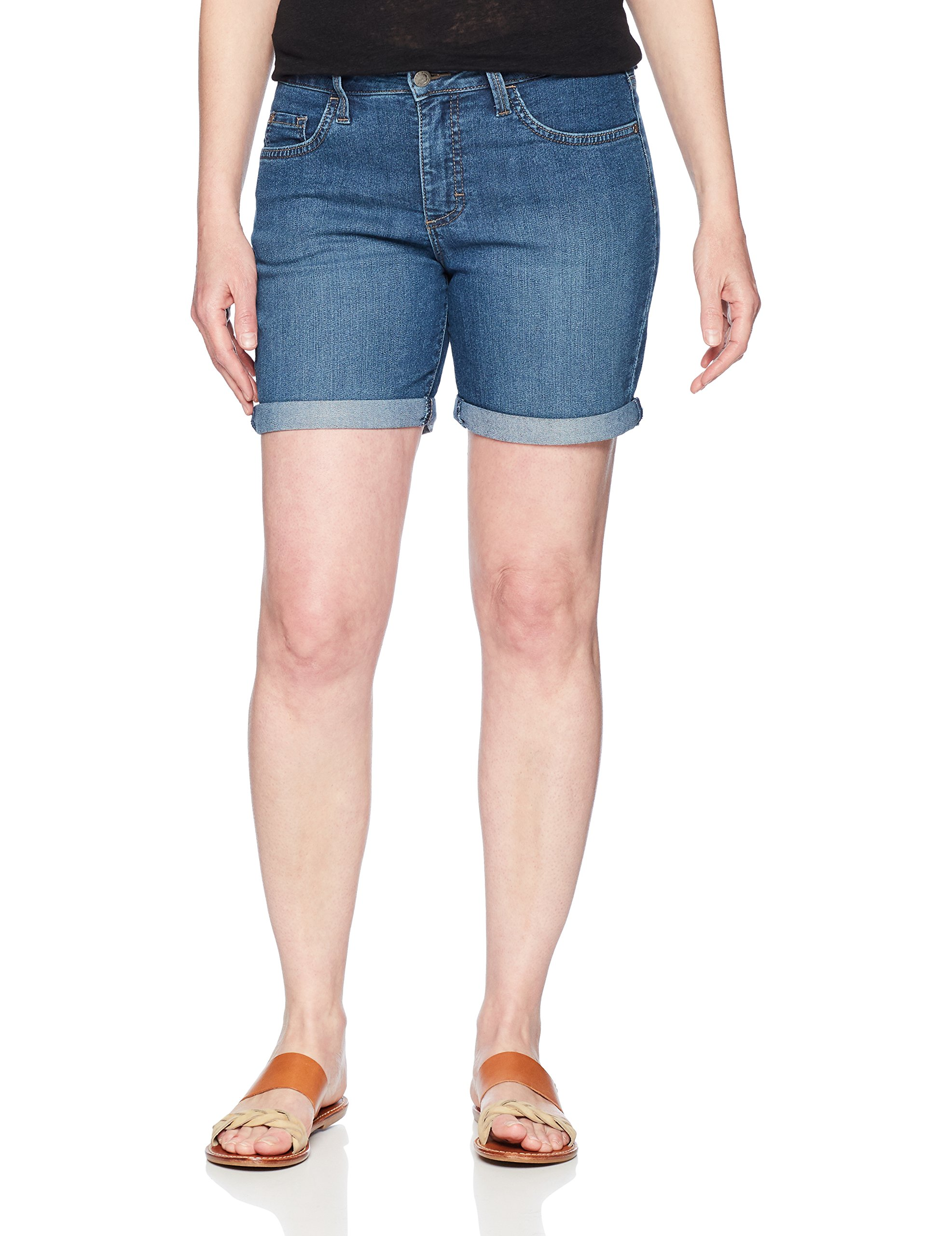 Riders by Lee Indigo Women's Rolled Cuff Midrise Denim Short with 6'' Inseam, Mid Wash, 12 AVG