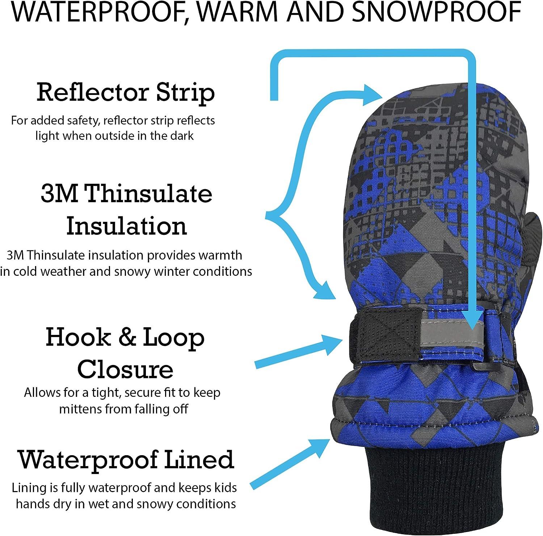 NIce Caps Kids Thinsulate Waterproof Reflector Winter Snow Ski Mittens Blue Geo, 2-3 Years