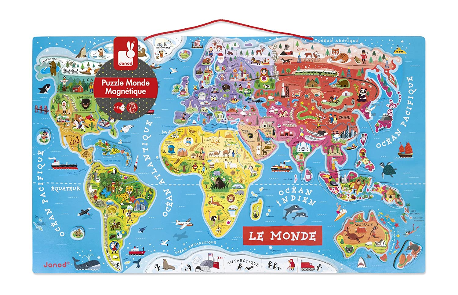 Janod World Map Magneto Puzzle in Francais (92 Piece, Multi Colour