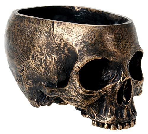 SUMMIT COLLECTION Bronze Resin Halloween Skull Candy Bowl Planter Dish Statue Sculpture Skeleton