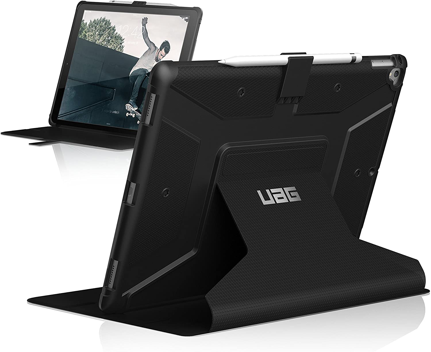 URBAN ARMOR GEAR [UAG] Folio iPad Pro 12.9-inch (2nd Gen, 2017) & iPad Pro 12.9 (1st Gen, 2015) Metropolis Feather-Light Rugged [Black] Military Drop Tested iPad Case
