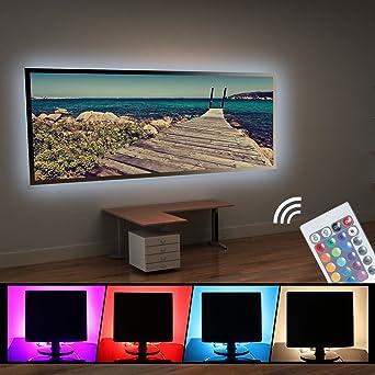 4x 50cm RGB LED Tira de Tira LED Flexible Impermeable SMD 5050 Impermeable TV de Fondo Iluminación de Humor para TV Ordenador Portátil de Fondo con Cable USB + Control Remoto: Amazon.es:
