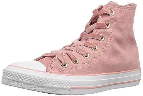 Converse Womens CTAS HI Rust Pink/Black/White Sneaker, Milk, ...