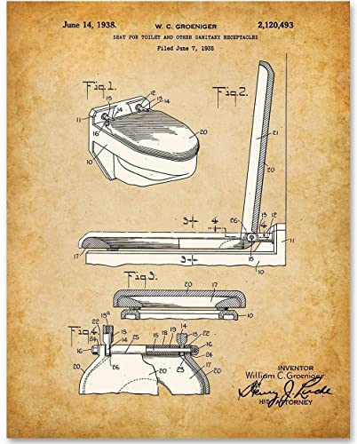 Astonishing Toilet Seat Patent 11X14 Unframed Patent Print Makes A Great Gift Under 15 For Bathroom Decor Lamtechconsult Wood Chair Design Ideas Lamtechconsultcom