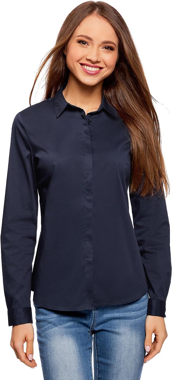 oodji Ultra Mujer Camisa Entallada Básica