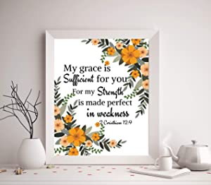King65irginia Bible Verse Wall Art Sign Decor My Grace is Sufficient for You for My Strength is Made Perfect in Weakness Corinthians Wall Hanging