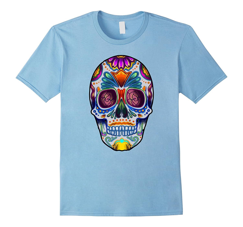 Bright Sugar Skull Halloween Shirt Day of the Dead T-Shirt-Veotee