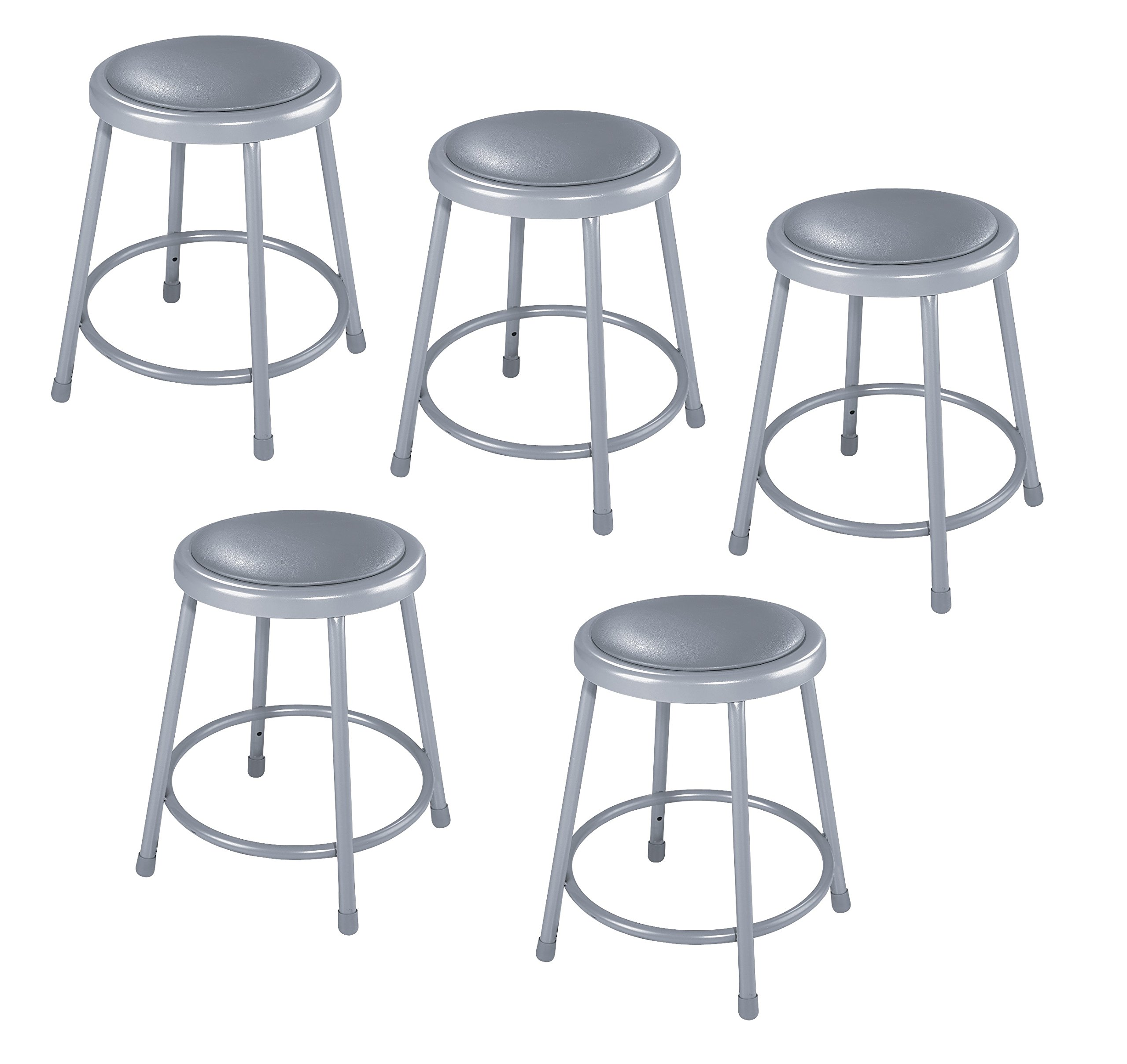 National Public Seating 6418-CN Steel Stool with 18'' Vinyl Upholstered Seat, Grey (Pack of 5)