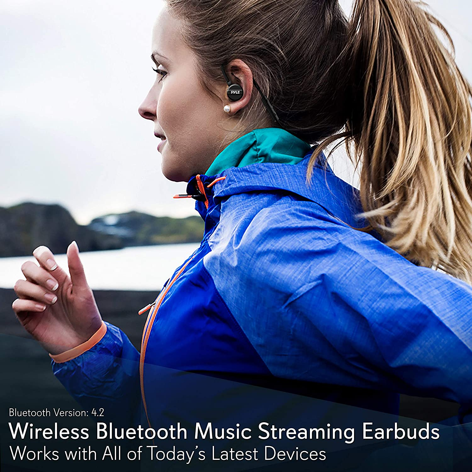 in Ear Wireless Bluetooth Headphones – Waterproof Black Cordless Sports Earbuds Headset Earphones, Ear Buds Wireless Headphones w Microphone for Audio Video Running Gym Workout Gaming – Pyle PSWPHP43