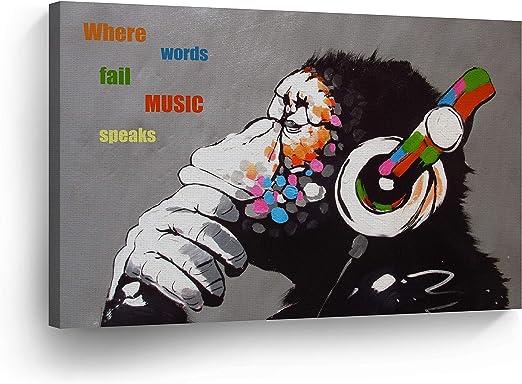 Monkey Headphone Art Canvas Print Banksy Thinker Painting Nursery On Wall Street