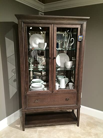 American Drew Park Studio Mirrored Back Curio China Cabinet In Taupe