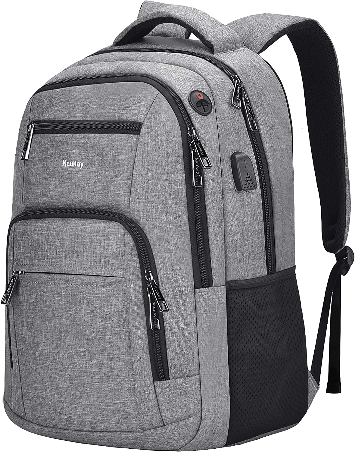 Travel Laptop Backpack,Slim Durable College School Backpack for Men and Women with USB Charging Port,Business Anti-Theft Water Resistant Bookbag Computer Backpack Fits 15.6 Inch Laptop Notebook,Grey