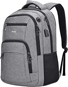 Travel Laptop Backpack,Slim Durable College School Backpack for Men and Women with USB Charging Port,Business Anti-Theft Water Resistant Bookbag Computer Backpack Fits 15.6 Inch Laptop & Notebook,Grey