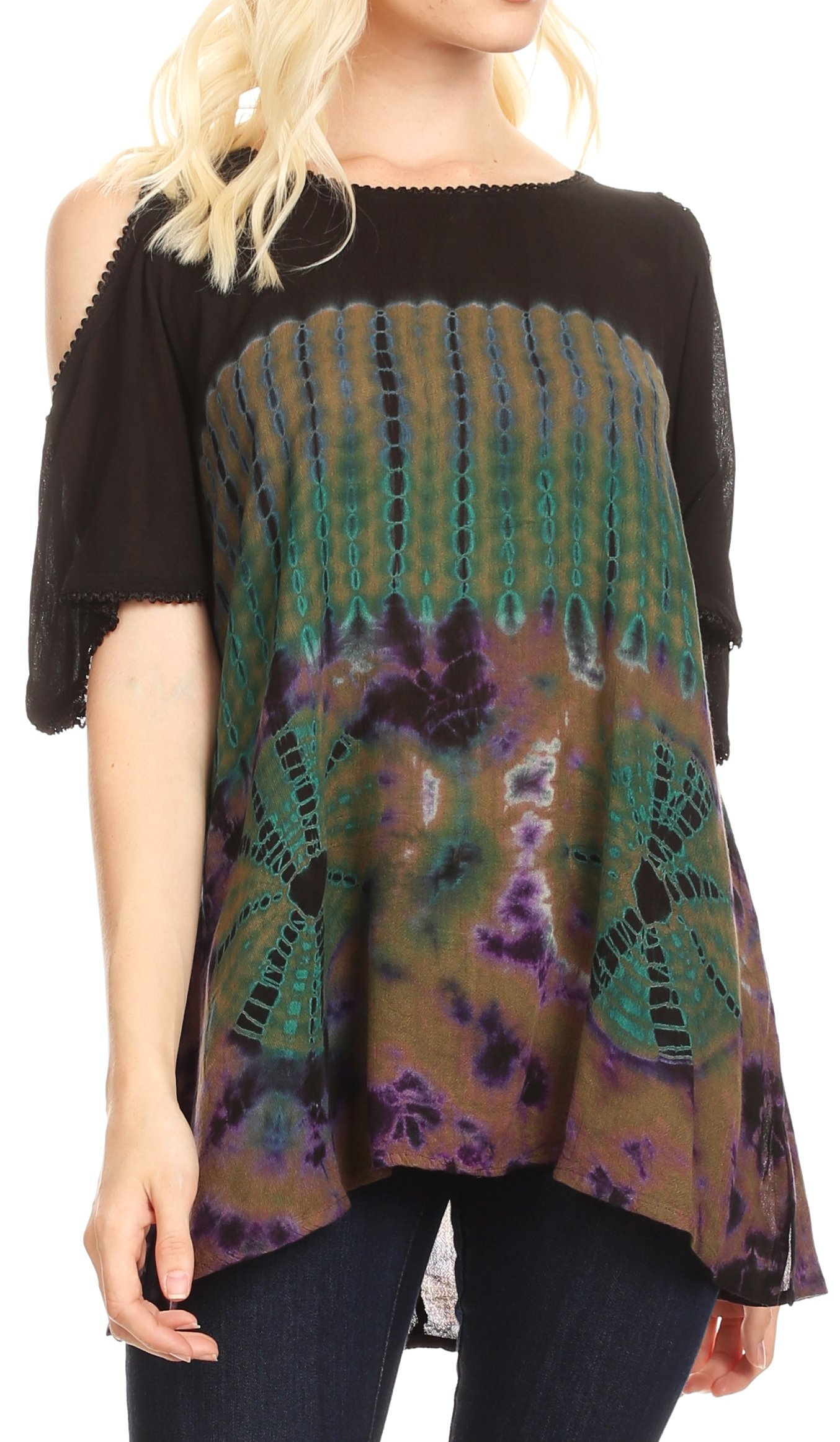 Sakkas 18789 - Luz Womens Cold Shoulder Bohemian Ethnic Style Blouse Top Tie Dye Flare - Olive - OSP