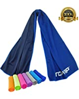 "Cooling Towels for Yoga Sports Camping Hiking Travel Gym Fitness Workout Pilates Golf Fishing Pet Baby Fever care&More Quick Dry Instant Cool Soft 40x12"" No fading Chilling Scarf Ice Towels by TOPVIP"