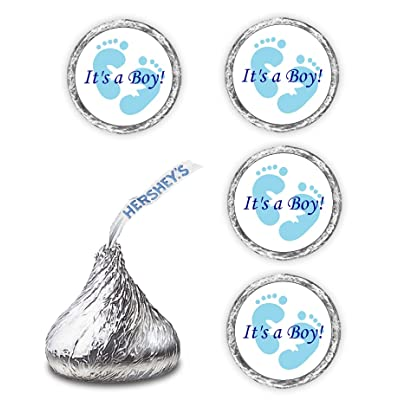 108 Its A Boy Blue Footprints Baby Shower Party Kisses Labels Favors Stickers: Kitchen & Dining