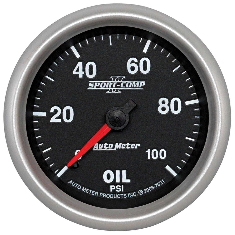 Auto Meter 7621 Sport-Comp II 2-5/8'' 0-100 PSI Mechanical Oil Pressure Gauge by AUTO METER