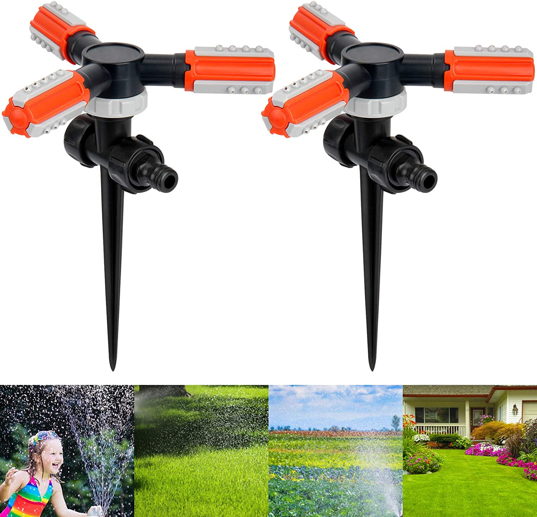 Lawn Sprinkler, 360 Degree Rotating Garden Hose Sprinkler with Ground Spike Water Sprinkler for Lawn Garden Yawn (2, Orange)