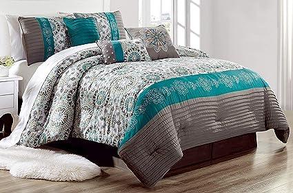 Amazon.com: Grand Linen Luxury 7 Piece Bedding Pin Tuck Comforter ...