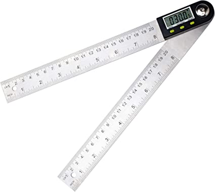 """Electronic Digital Angle Finder 8/"""" Protractor Ruler Stainless LCD batteries V9Z0"""