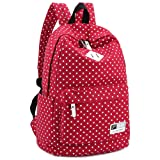 """Lightweight Casual Daypack Canvas Polka Dot Backpack 14""""-15"""" Laptop PC School Bag for Teenage Girls"""