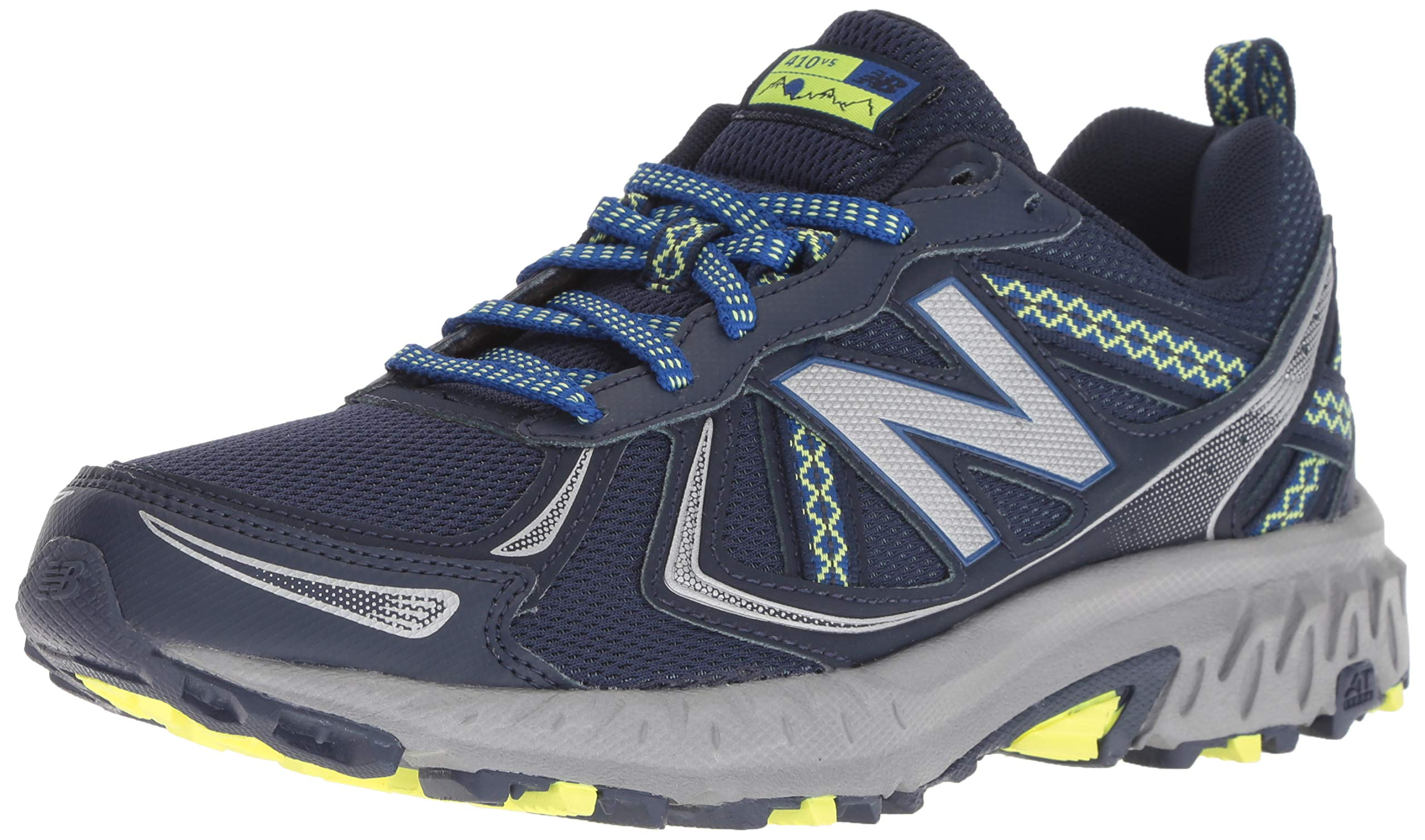 New Balance Women's 410v5 Cushioning Trail Running Shoe, Pigment/Team Royal/Solar Yellow, 5 D US