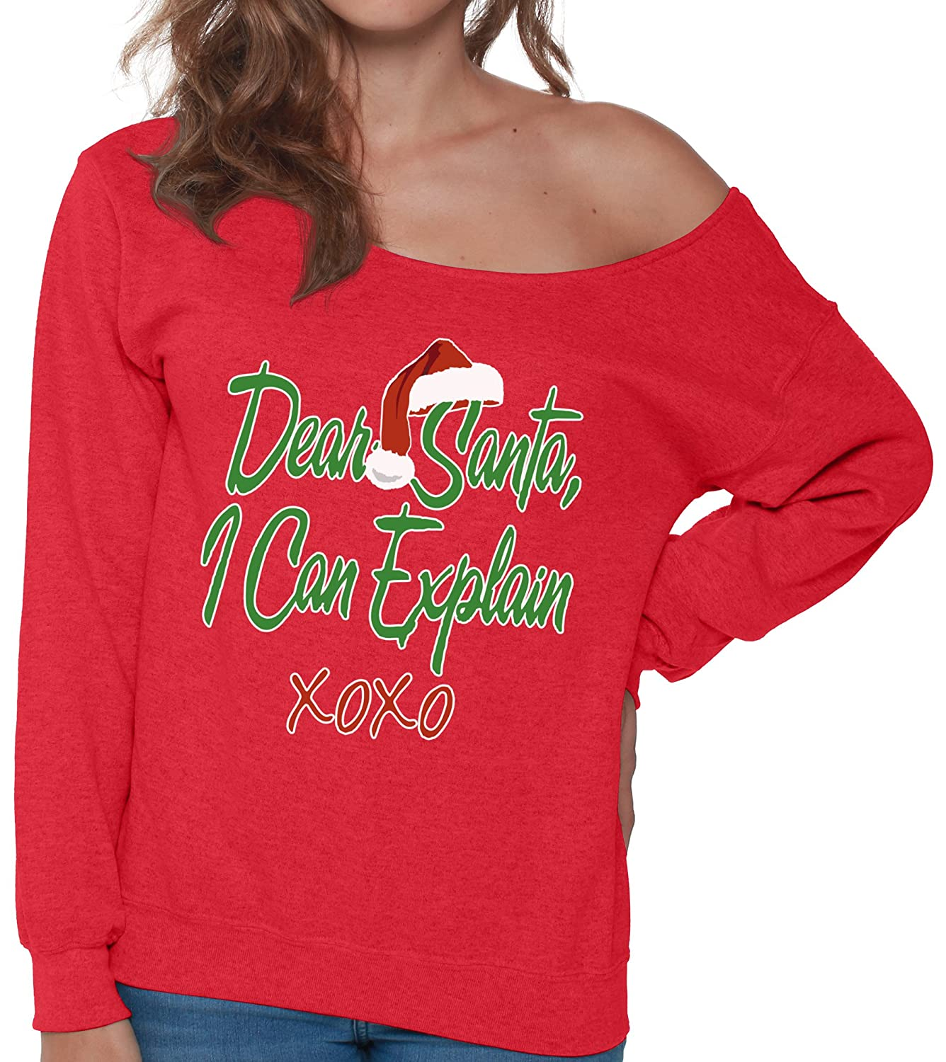 c4eada5ae25 Amazon.com  Pekatees Ugly Christmas Sweatshirt Christmas Off Shoulder  Sweatshirts Santa Sweaters  Clothing