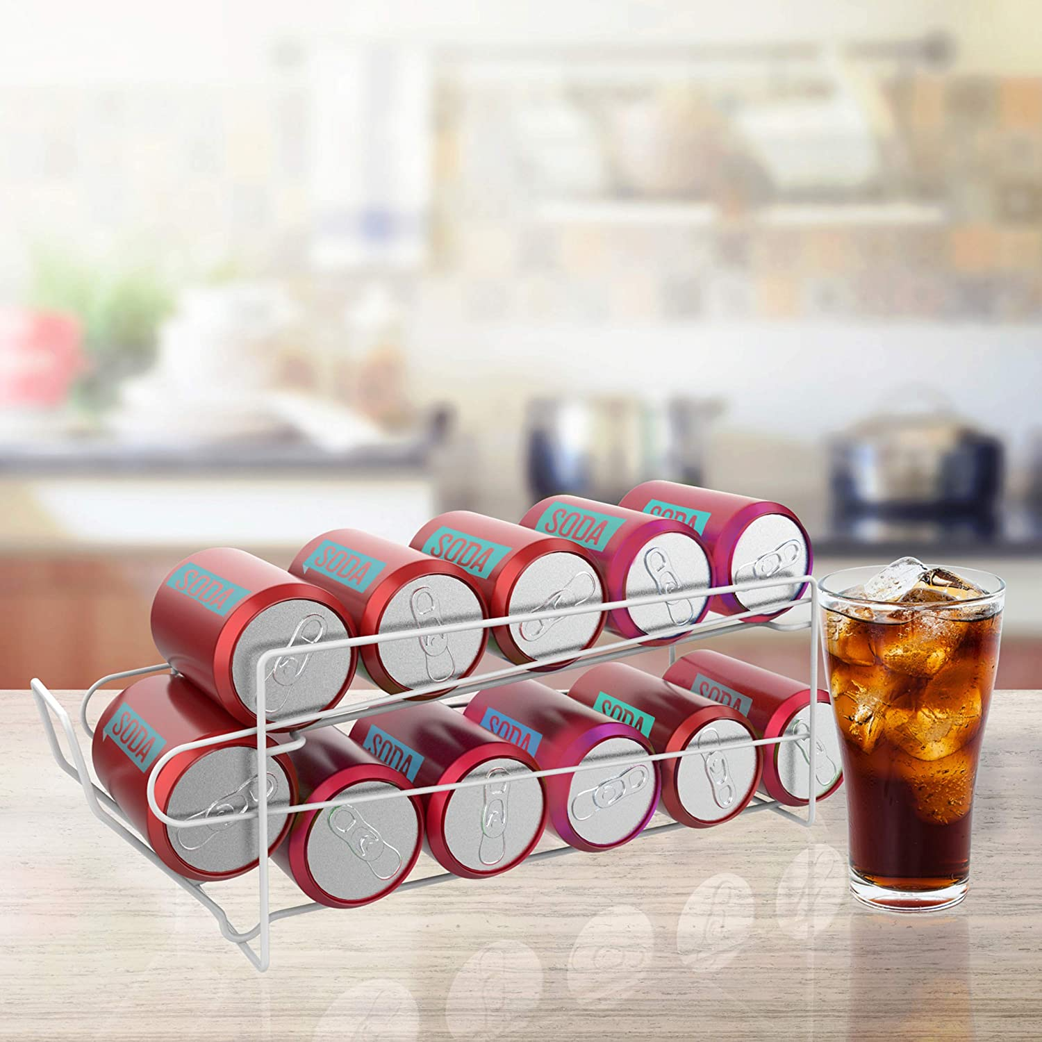 Lavish Home 83-116 2-Tier Dispenser-Organizer Holds 12 Standard Food or Soda Cans For Kitchen Pantry, Countertops, Cabinets, Fridge-Storage Rack