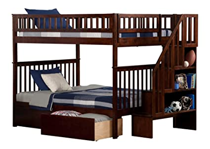 Atlantic Furniture AB56844 Woodland Staircase Bunk Bed with Urban Bed Drawers, Full/Full,