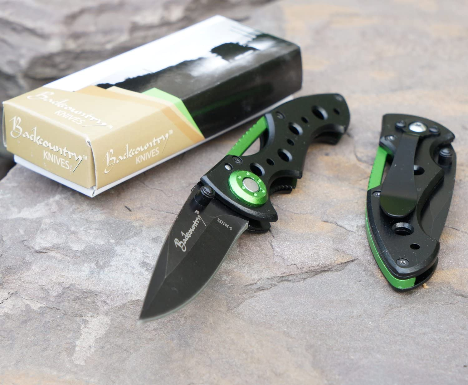Backcountry Scout Green Folding Pocket Knife, 2.5 Inch Straight Blade,, Camping, Hiking, Everyday Carry