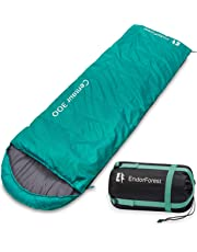 Endor Forest Envelope Sleeping Bag - Single 3/4 Season Sleeping Bags for Adults and Sleeping Bags for Kids Outdoor Camping - Lightweight, Compact and Water Resistant for a Comfortable Warm Sleep