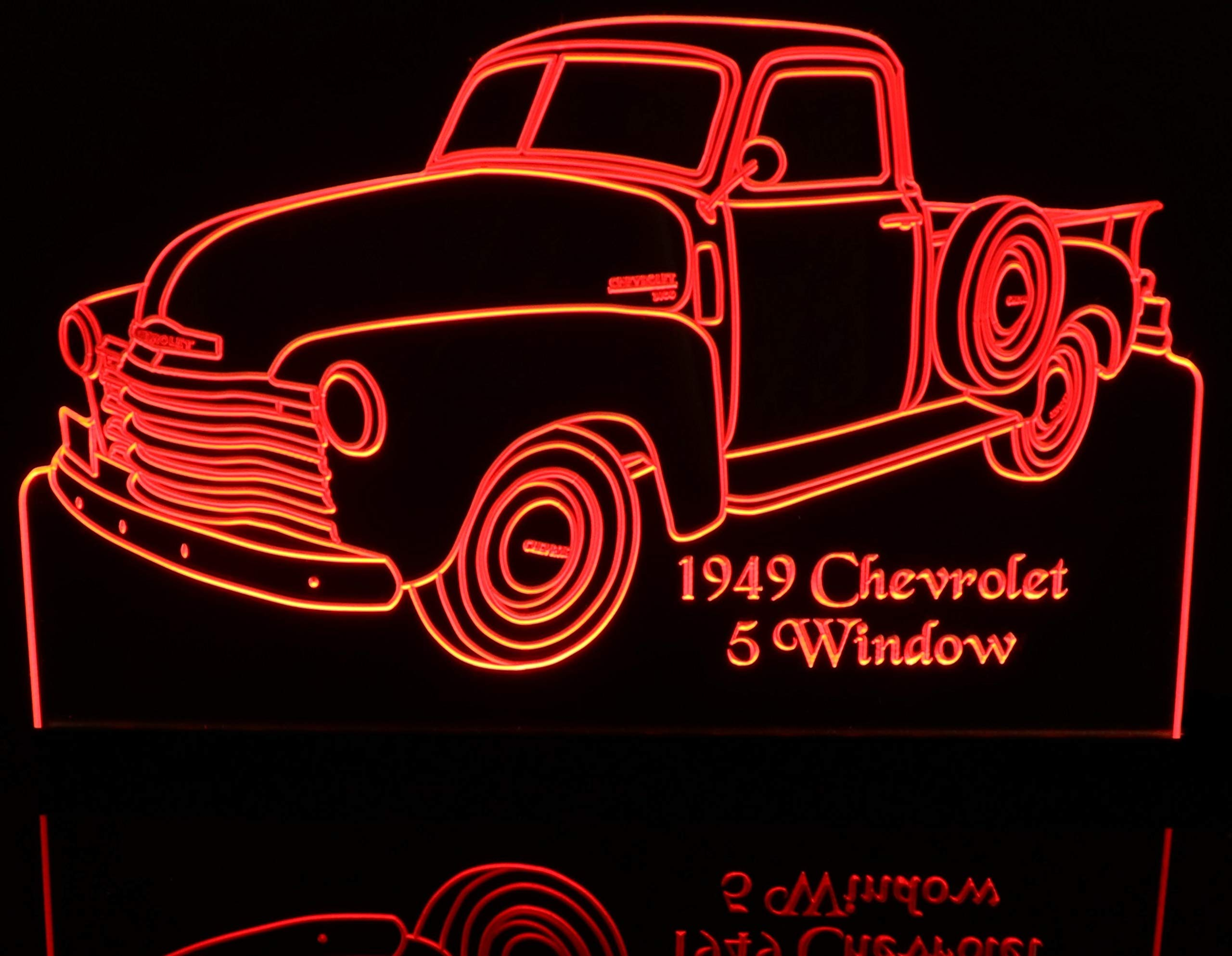 ValleyDesignsND 1949 Chevy Pickup Truck 5 Window with Spare 12'' Reflective Black Mirror Base 15 Led Acrylic Lighted Edge Lit LED Sign Light Up Plaque 49 VVD1 Made in The USA