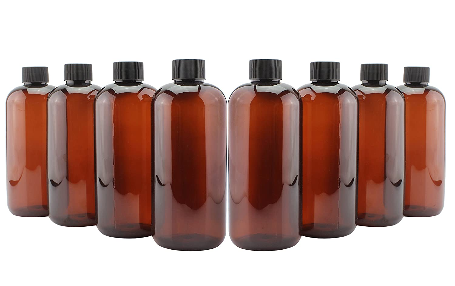 16-Ounce PLASTIC Amber Bottles (8-Pack); Plastic Bottles with Phenolic Caps for Kombucha, Cold Brew, Iced Tea, Other Beverages