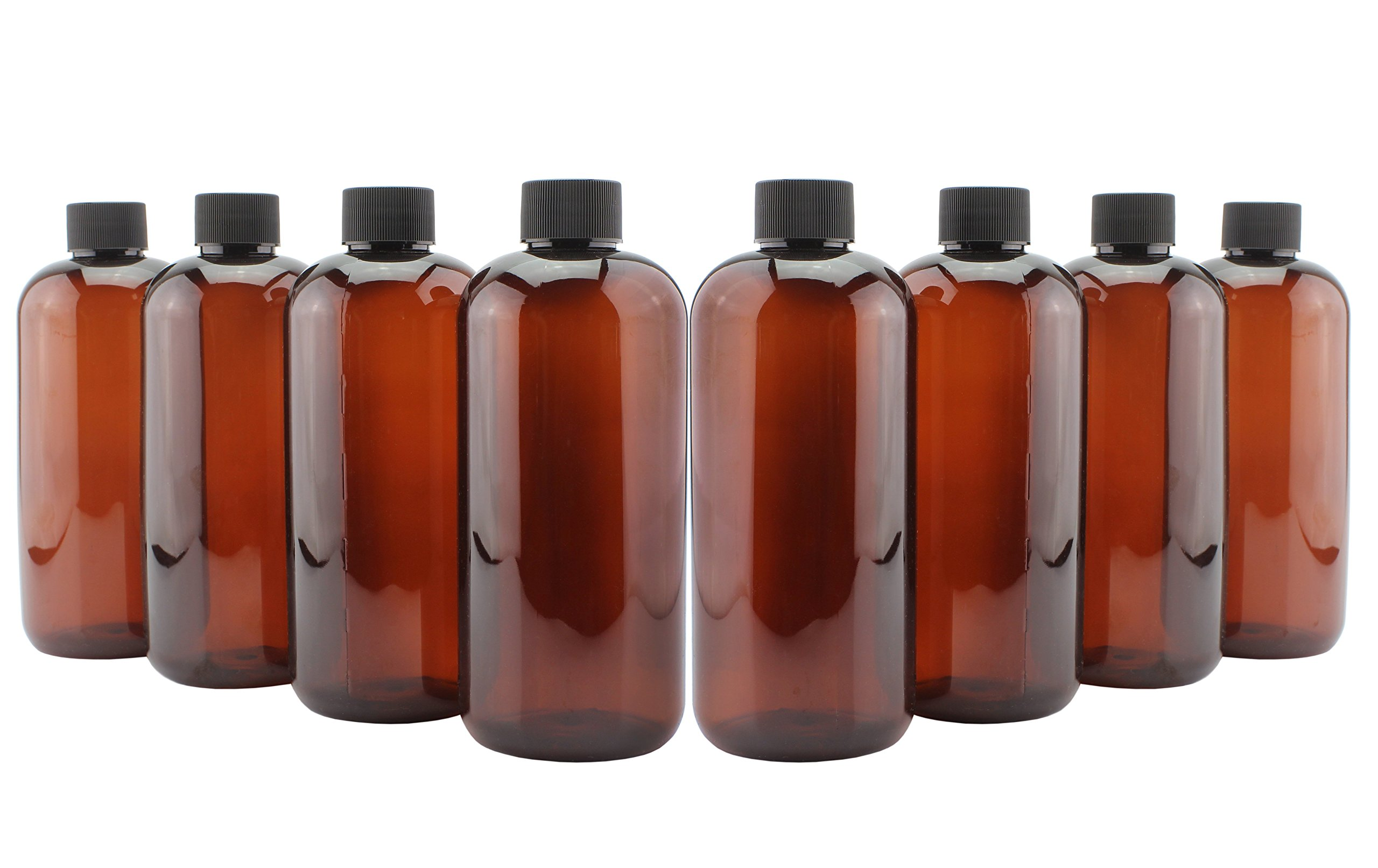 16-Ounce Plastic Amber Bottles (8-Pack); with Phenolic Caps for Kombucha, Cold Brew, Iced Tea, Other Beverages