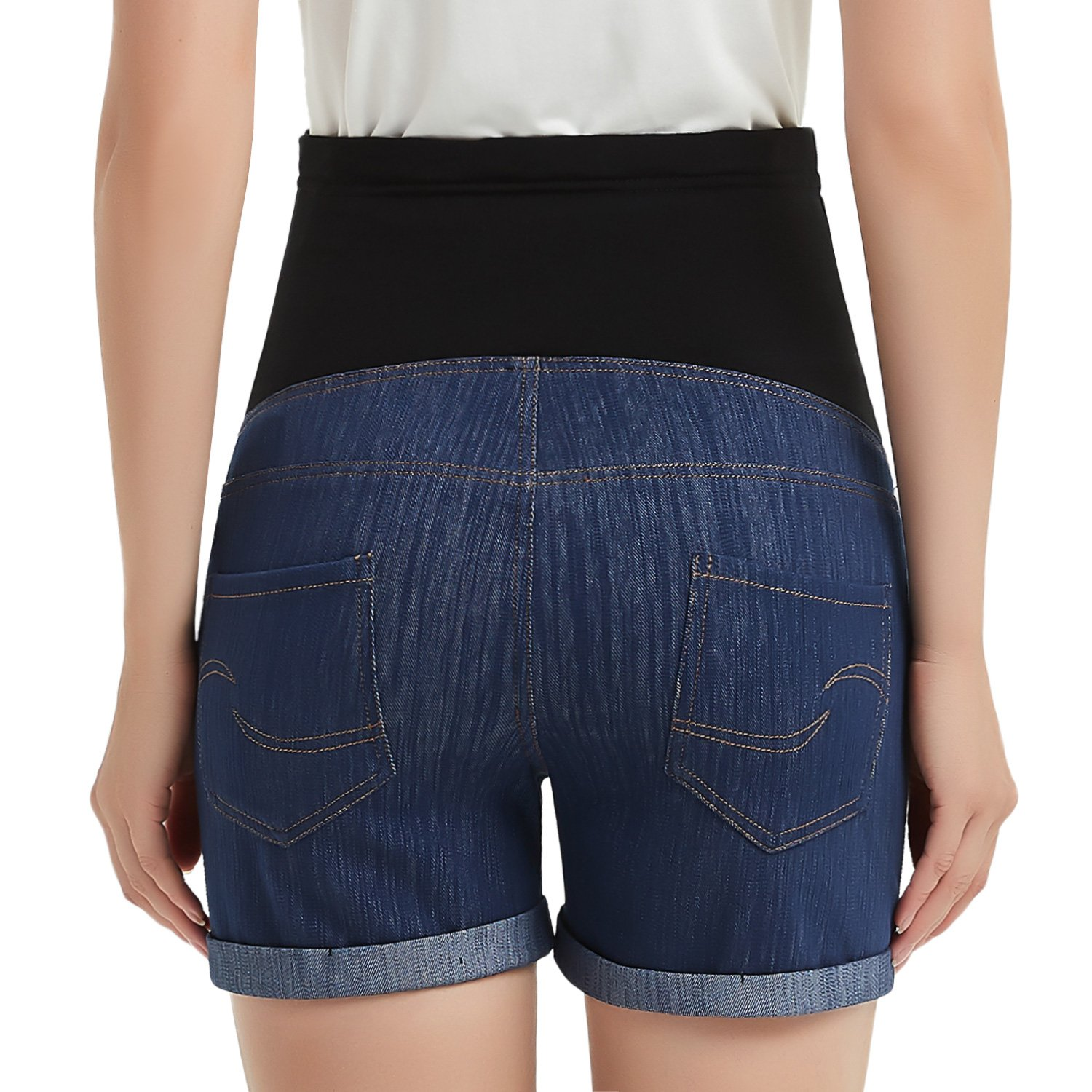 GINKANA High Waist Maternity Denim Shorts Cotton Summer Over Belly Pregnancy Shorts Linen Pants by GINKANA (Image #2)