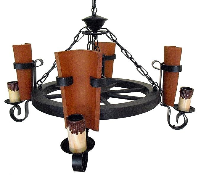 Lámpara rústica de rueda de carro 4 luces con tejas ...