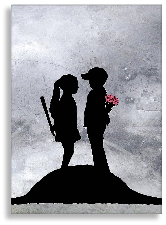 Kunstbruder Leinwandbild von Banksy Boy and Girl Kunstdruck auf Leinwand Leinwand Leinwand Wandbild Bild Graffiti Street-Art (70x100cm) 5d13c0