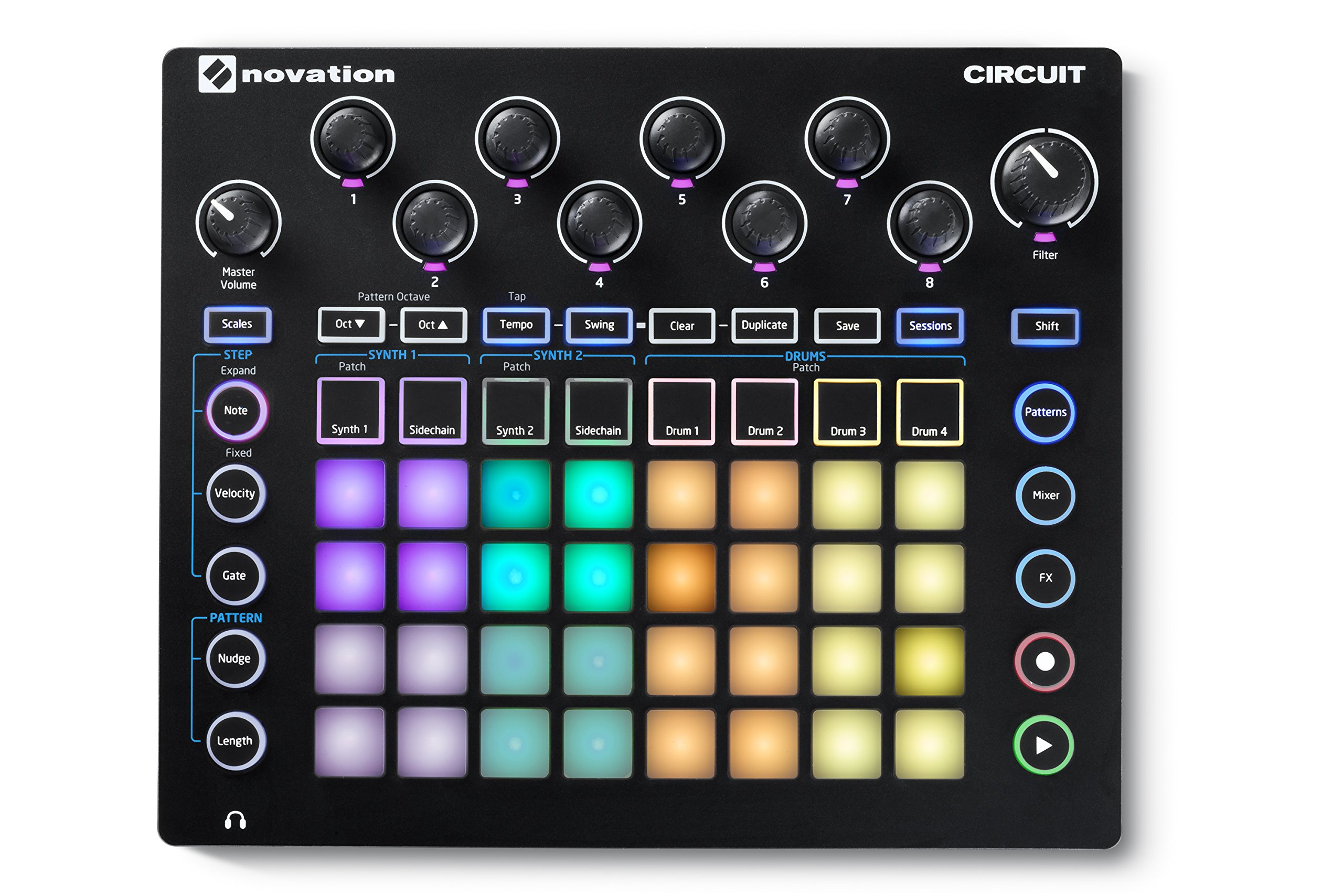Novation Circuit Groove Box w/ Sample Import: 2-Part Synth, 4-Part Drum Machine and Sequencer by Novation