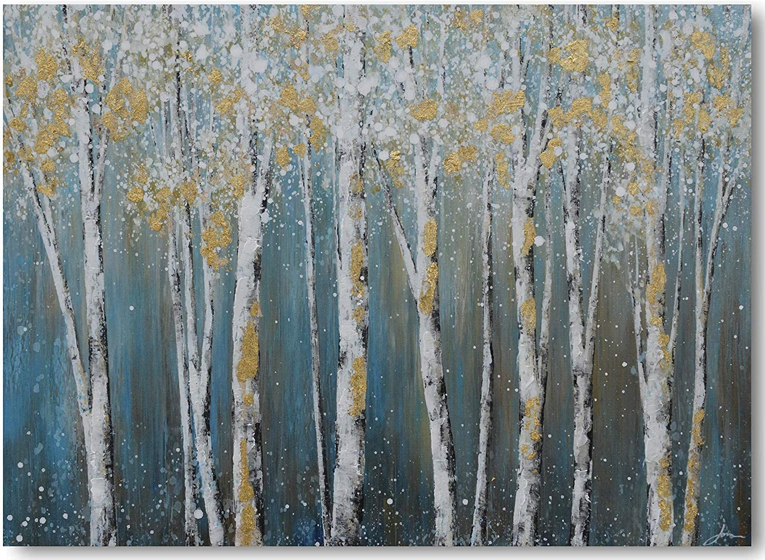 Yihui Canvas Wall Art White Grey Birch Trees Branches Painting Gold Foil Leaves Picture Poster Prints, Modern One Panel 48