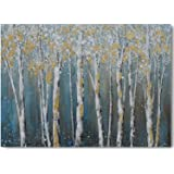 Yihui Canvas Wall Art White Grey Birch Trees Branches Painting Gold Foil Leaves Picture Poster Prints, Modern One Panel…