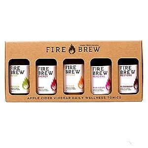 Fire Brew - Sampler 5 Pack Energy Beet, Restore Elderberry, Immune Citrus, Detox Garden, Renewal Hibiscus (Fire Cider Recipe), 5 - 2oz Bottles with 4 Shots per Bottle, Organic, With the Mother